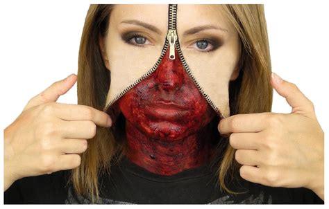 halloween makeup tutorial liquid latex zipper face liquid latex set hollywood special effects