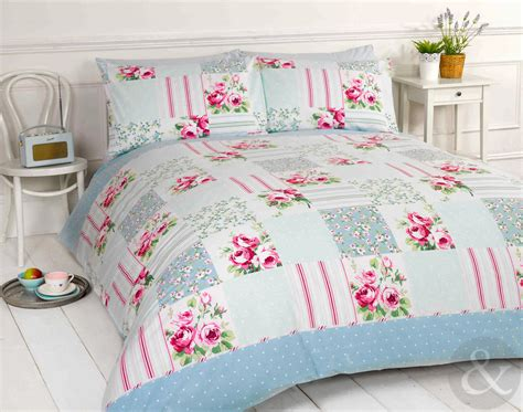 details about shabby chic patchwork duvet cover floral pink duck egg blue bedding bed set
