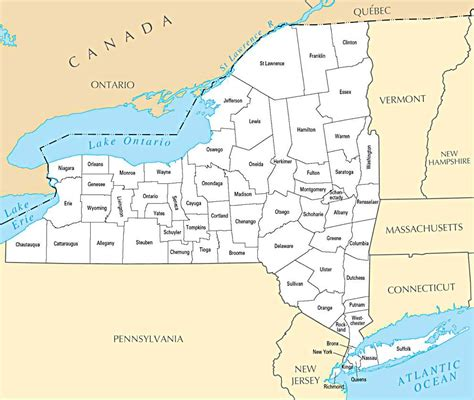 new york map administrative map of new york state new york state