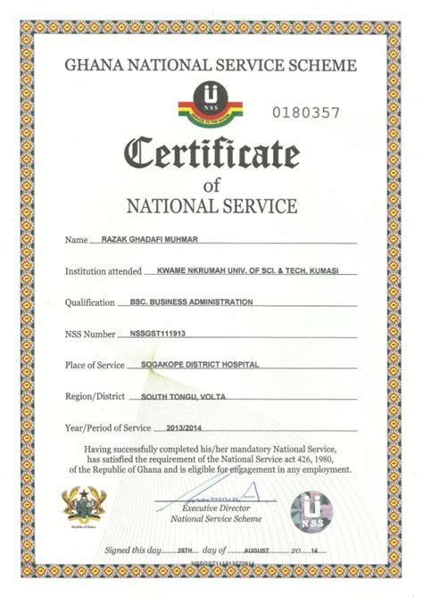 service certificate national service certificate