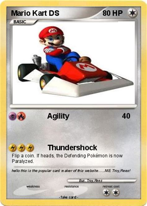 pokemoncardmaker org make your own card pok 233 mon mario kart ds 1 1 agility my card