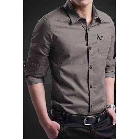 Miller Grey Pakaian Pria Kemeja Slim Fit Warna Abu Tua kemeja pria slim fit keren trend fashion pria model 2017 miller collection elevenia