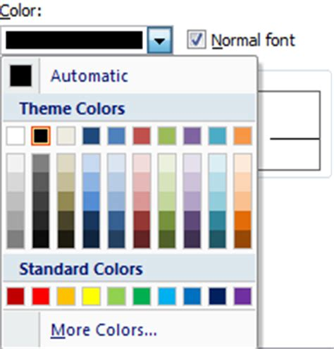 color palette exles microsoft excel 2007 tutorial format cells font tab