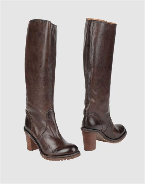 brown high heeled boots halmanera high heeled boots in brown lyst