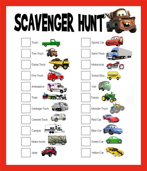 printable road trip scavenger hunt 7 best images of printable road trip scavenger hunt game