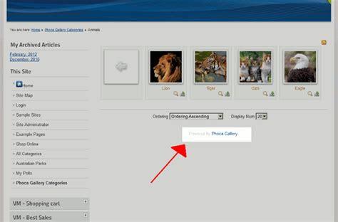 phoca gallery themes joomla 2 5 how to remove powered by phoca gallery in joomla 2 5