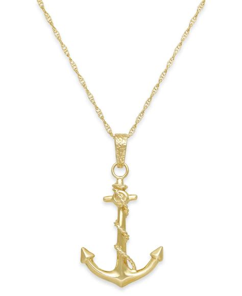 macy s s anchor pendant necklace in 10k gold in