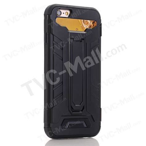 Iphone 7 Armor With Kickstand Card Holder armor guard plastic tpu kickstand with card holder for iphone 7 4 7 inch black tvc mall