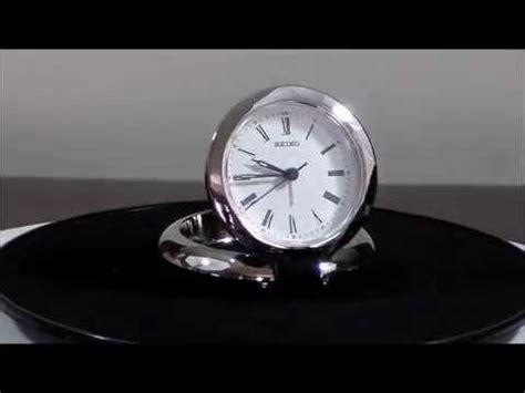 seiko arthur qht013slh silver tone metal travel alarm clock