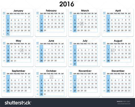 Numbered Week calendar 2016 12 months indicating number weeks 2016