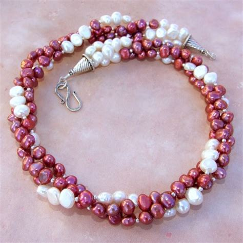 twisted multistrand pearl necklace handmade jewelry ooak