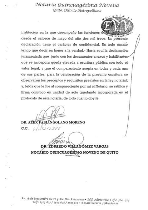 Declarcion Juramentada 2015 | declaracion juramentada de fabian solano a mayo 2015