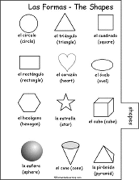 printable shapes in spanish spanish word book 2 to print shapes las formas page