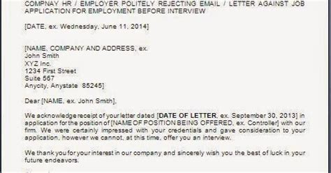 Decline Letter Before Rejection Letter Before