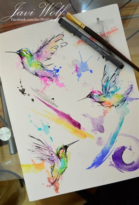 watercolor hummingbirds pintura de un servidor d