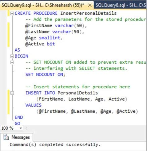 insert into temp from stored procedure insert record stored procedure in sql server tech funda