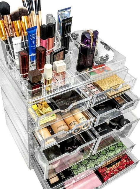 sorbus makeup storage set large display stackable and detachable drawers stackable acrylic makeup organizer jewelry storage