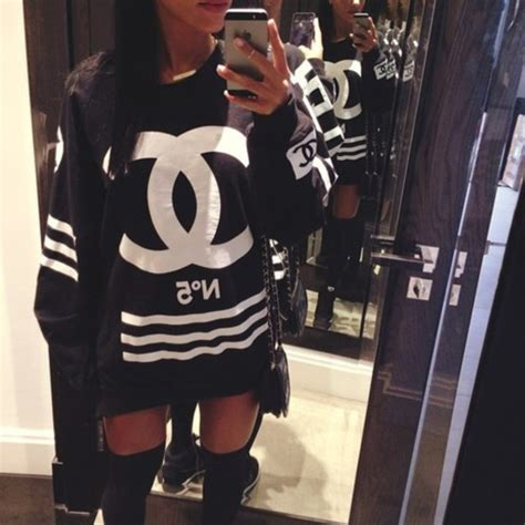 St Channel Lace Cc shirt chanel streetwear streetstyle www ebonylace net sweater dress chanel sweatshirt
