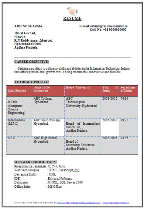 resume format for freshers computer engineers 10000 cv and resume sles with free