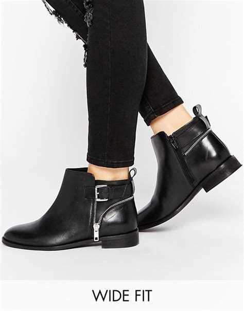 asos asos alarm wide fit leather ankle boots