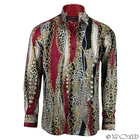 mens chain print silk feel smart casual designer style button shirt black gold ebay