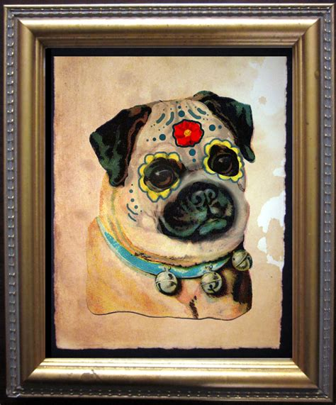 sugar skull pug pug sugar skull day of the dead print vintage collage
