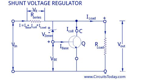 shunt type zener diode voltage regulator voltage regulators circuits different types working principle design
