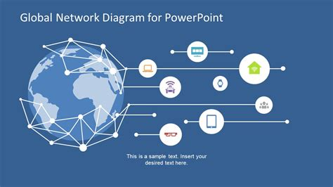 Global Network Diagram For Powerpoint Slidemodel Network Ppt Templates Free