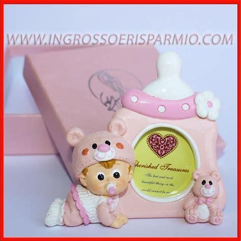cornici thun battesimo portafoto bimba con biberon rosa e orsetto cornici