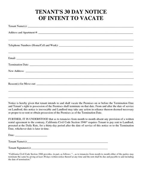 30 day notice template tenant to landlord 30 day notice letter exle cover