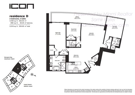 Icon Condo Floor Plan by Icon South Condos 450 Alton Road Miami Fl 33139