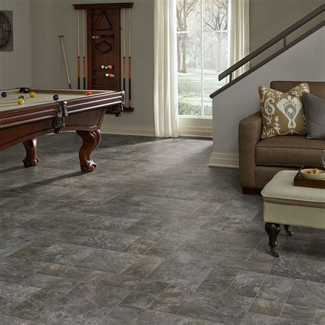Resilient modular slate vinyl floor for basement kitchen