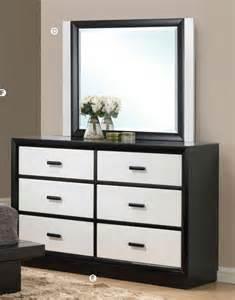 White Bedroom Dresser With Mirror Debora Black White Contemporary 6 Drawer Dresser With Mirror Acme Contemporary Bedroom