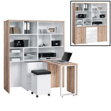 zentra mini office station in oak and white mirror