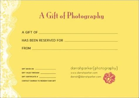 Photo Session Gift Certificate Ideas Branding Design Pinterest Gift Certificate For Photography Session Templates