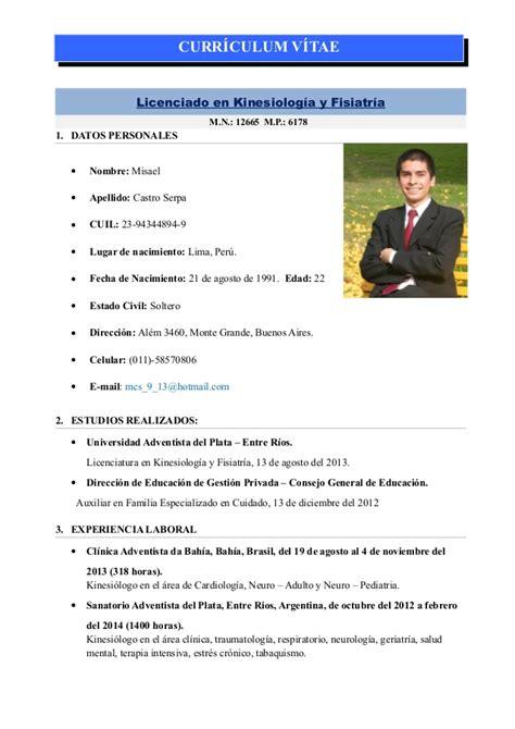 Modelo Curriculum Kinesiologo Curriculum Vitae Misael Castro