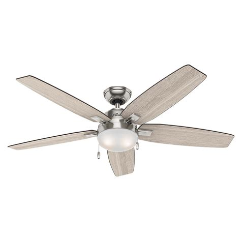 bedroom ceiling fan light fixtures hunter antero 54 in led indoor brushed nickel ceiling fan