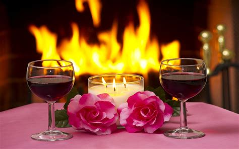 massa  pink roses lamp lit candles  glasses  red