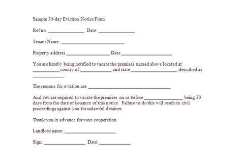 printable eviction letters free downloadable eviction forms sle 30 day eviction