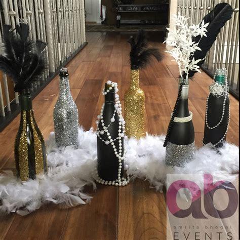decorative bottles  great gatsby theme decor sparkles