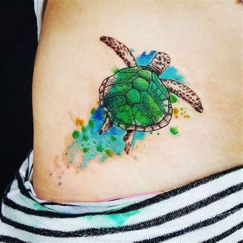 Green Sea Turtle Tattoo On Hip Green Sea Turtle Tattoos