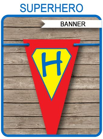 superhero party banner template birthday banner editable bunting