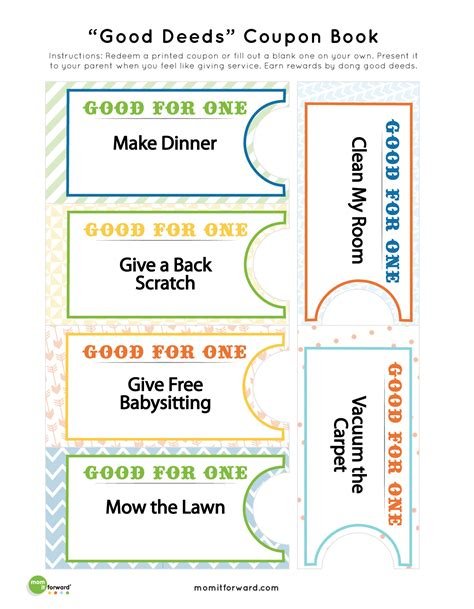 deed coupon book printables 101 coupons and child