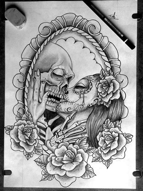tattoo couple sketch catrina and skull sketch tattoo skull addict pinterest