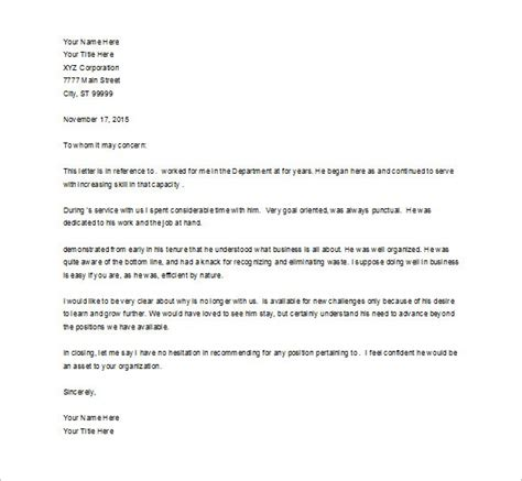 Reference Letter For Employee Word Format Doc 736952 Employee Recommendation Letter Bizdoska