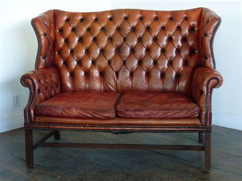 Sofa Wing Chair 1930 leather tufted wing back style sofa at 1stdibs
