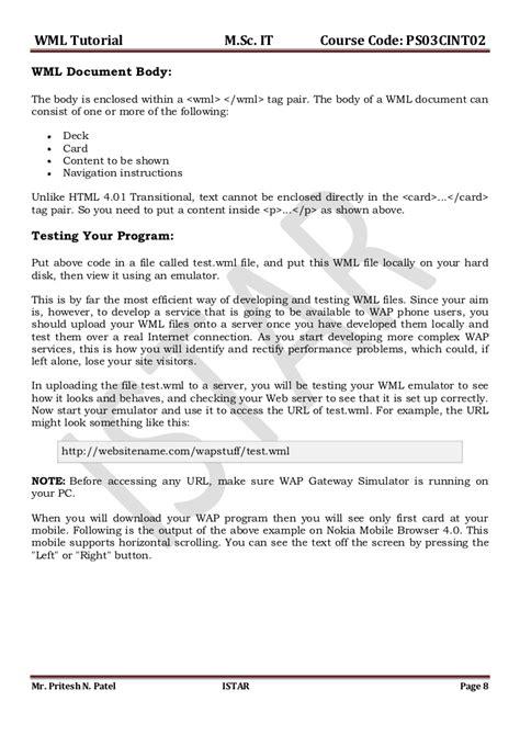 wap wml tutorial pdf wml tutorial
