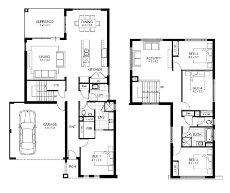 floor plan two storey house incredible double storey 4 bedroom house designs perth apg