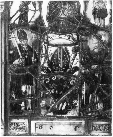 heraldic panel with saints theodole and catherine corpus