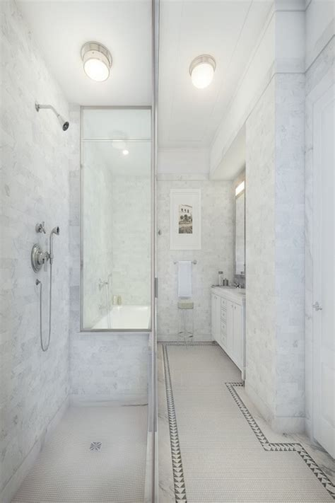 narrow bathroom ideas transitional bathroom corcoran